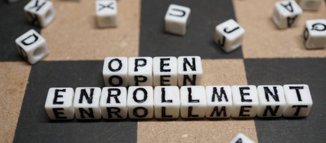 shot of word open enrollment
